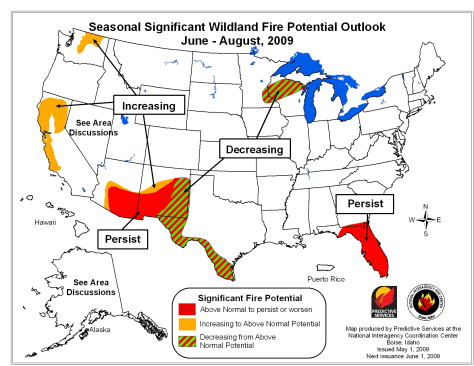 Image: Map of wildfire forecast