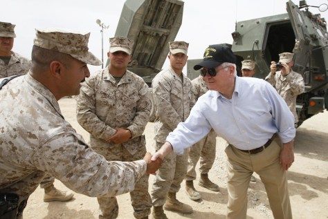 Image: Robert Gates greets Marines in Afghanistan