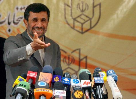 Image: Iranian President Mahmoud Ahmadinejad speaks after his candidacy registration
