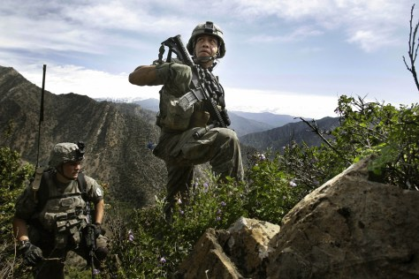 Image: U.S. soldiers patrol Korengal Valley in Afghanistan