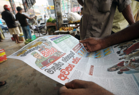 Image: Newspaper with photo of Tamil Tiger rebel leader