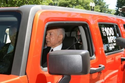 Image: Sen. Hatch test drives the Electric Hummer
