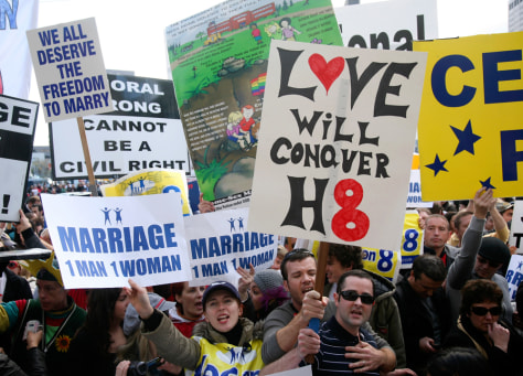 Image: People with opposing viewpoints on Proposition 8 demonstrate outside California Supreme Court in San Francisco