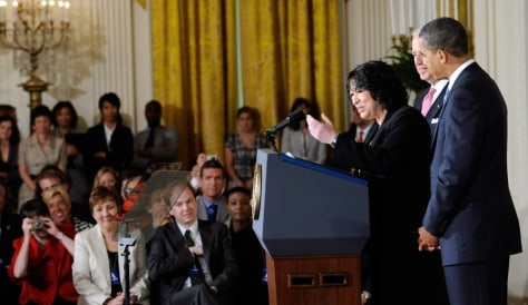 Image: Sonia Sotomayor is introduced as Obama's Supreme Court nominee