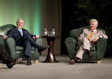 Image: George W. Bush and Bill Clinton