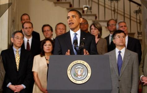 Image: Barack Obama, Steven Chu, Hilda Solis, Gary Locke