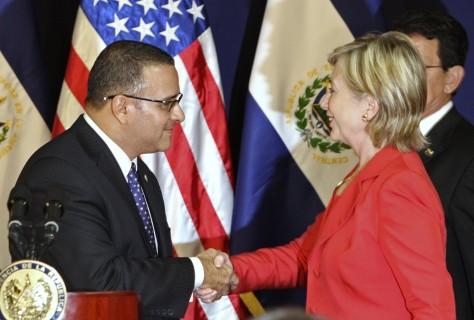 Image: Mauricio Funes, Hillary Clinton