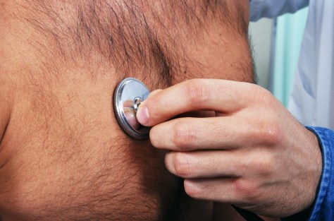 Image: stethoscope on man's chest