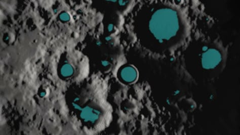 Image: Illustration of ice on the moon