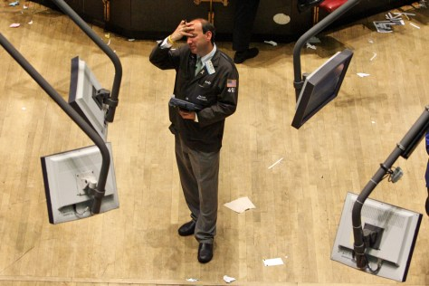 Image: Trader on floor of NYSE