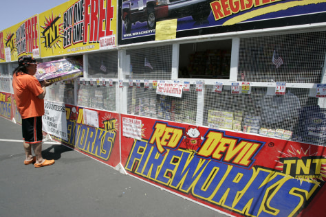 Image: Fireworks booth in California