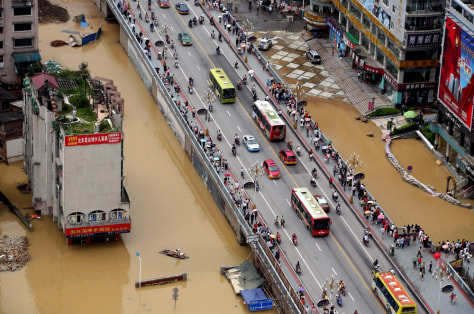 Image: Flooded city zone along the Liujiang River