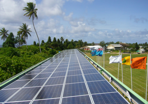 Image: Solar panels on a stadium in Tuvalu