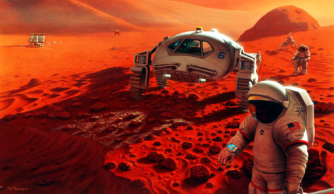 Image:Artist's rendering of possible Mars exploration program