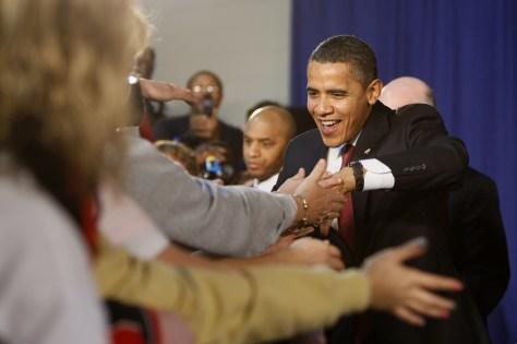 Image: Barack Obama visits Elkhart, Ind., in 2009