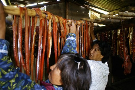 Image: Drying king salmon strips in Alaska