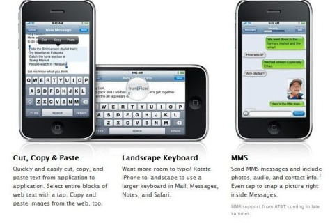 Image: iPhone 3.0 features on Apple Web site