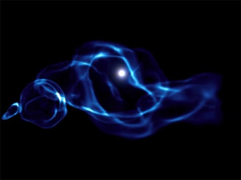 Image: Computer-simulated image of one of the first black holes