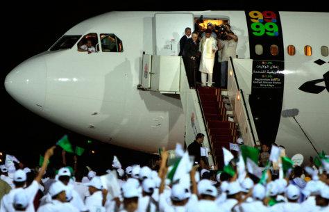 Image: Abdel Baset al-Megrahi arrives in Libya
