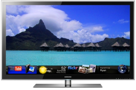 Image: Samsung HDTV with widgets on screen