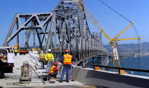Image: Crews continue work on the San Francisco-Oakland Bay Bridge