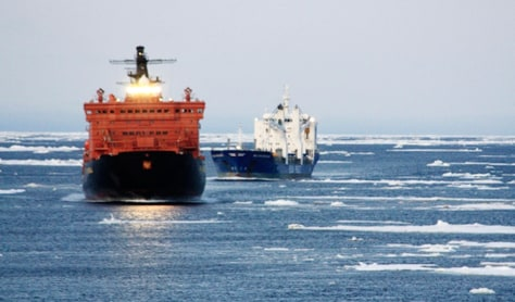 Image: Ships in Arctic passage