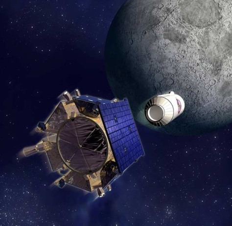 Image: An artist's depiction of the LCROSS moon-smashing mission as the Shepherding Spacecraft (left) pulls free of the Centaur upper stage impactor.