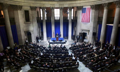 Image: Obama speaks at Federal Hall