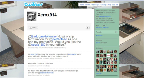 "Image: Twitter Web page from ""Mad Men"" ""character,"" a Xerox machine"