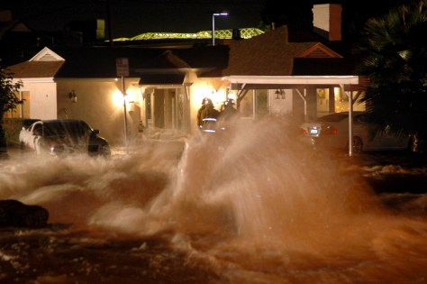 Image: water gushes from a broken water main in L.A.
