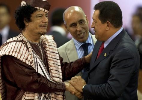 Image: Moammar Gadhafi greets Hugo Chavez