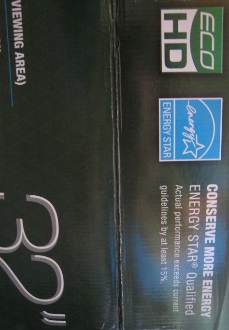 Image: Energy Star labeling on an HDTV box