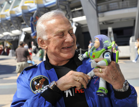 Image: Buzz Aldrin and Buzz Lightyear