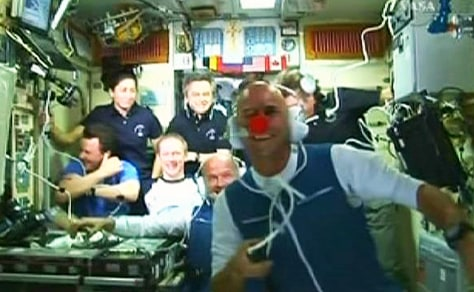 Image: Laliberte and crewmates on space station