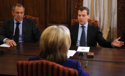 Image: Hillary Rodham Clinton, Dmitry Medvedev, Sergey Lavrov