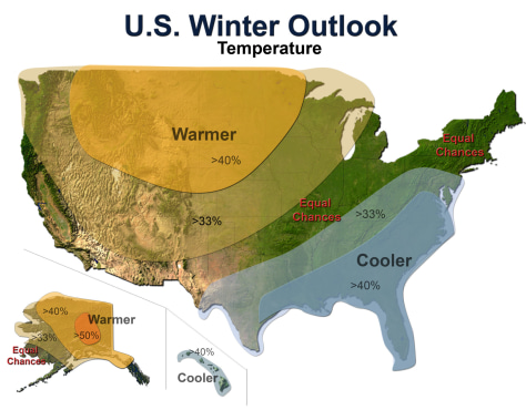 Image: Map of temperature forecasts for winter