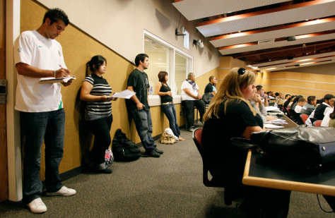 Image: College students stand in a class