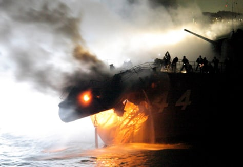 Image: Japanese warship collides with commercial vessel