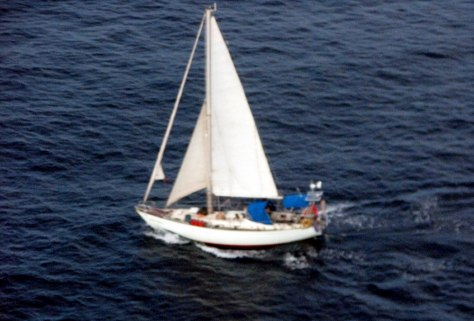 Image: Sailboat belonging to Paul and Rachel Chandler