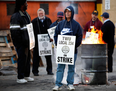 Image: Transport workers on strike