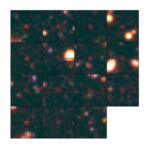 Image: Composite of false color images of galaxies