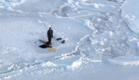 Image: A teenage hunter trapped on an ice flow