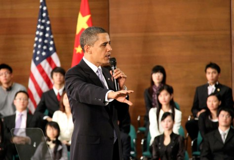 Image: President Barrack Obama meets Chinese students in Shanghai