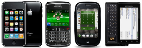 Image: iPhone, BlackBerry Bold 9700, Palm Pree and Motorola Droid