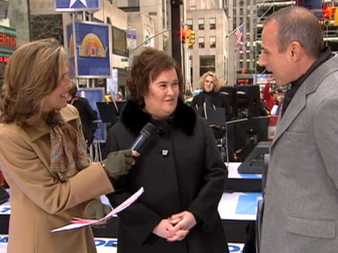 Image: Susan Boyle talks with Matt Lauer and Meredith Vieira