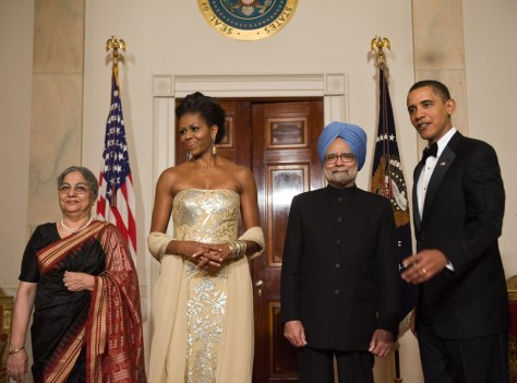 Image: Obamas with Indian prime minister and wife
