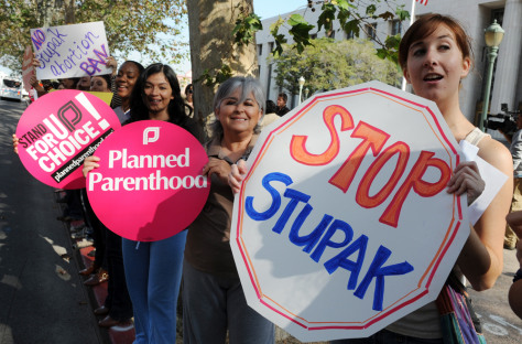 Image: Planned Parenthood women's rights group protests against the Stupak Ammendment