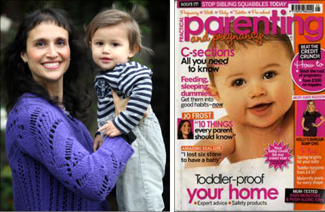 Image: Baby Hadley Corbett with mom Esther Corbett, and Hadley on magazine cover