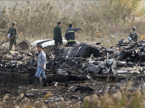 Image: Wreckage of cargo plane in Shanghai, China