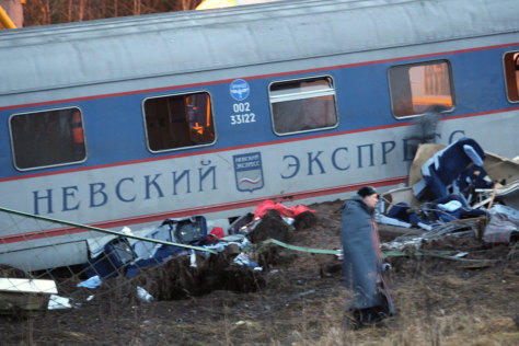 Image: Scene of train crash in Russia